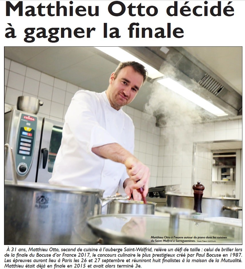 Presse matthieu otto second de auberge saint walfrid for Second de cuisine